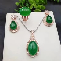 factory direct natural 925 silver inlaid chalcedony three piece pendant ring earring necklace new set wholesale