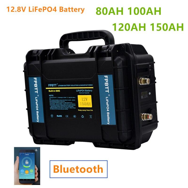 12 فولت 80ah 100 أمبير/ساعة 120ah 150ah LiFePO4 بطارية مع بلوتوث BMS 12.8 فولت lifepo4 بطارية ليثيوم مع شاحن 10A ل محرّك القارب