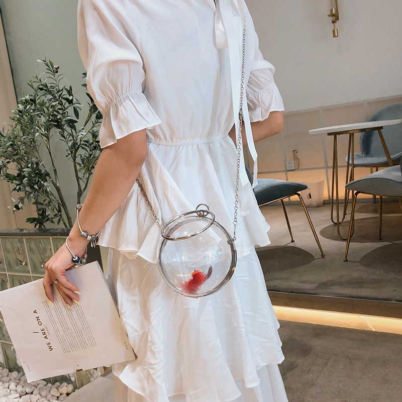 Transparent bag new trend wild messenger small bag spherical chain girl shoulder messenger bag