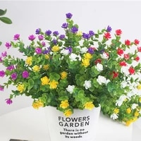 6pcs valentines day artificial flowers faux plastic greenery plants for wedding and outside hanging planter decor