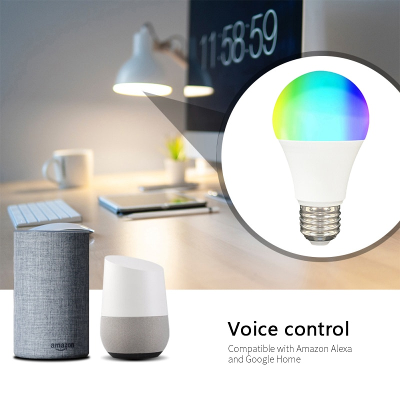 E27 Smart Control Lamp RGB Light Dimmable Smart LED RGBW Lamp Colorful Changing Bulb LED Home Party Decor Lighting White Home