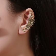 Style ethnique boucles doreilles anciennes rétro sculpté dame indolore oreille os pince tempérament métal rose géométrique oreille pince
