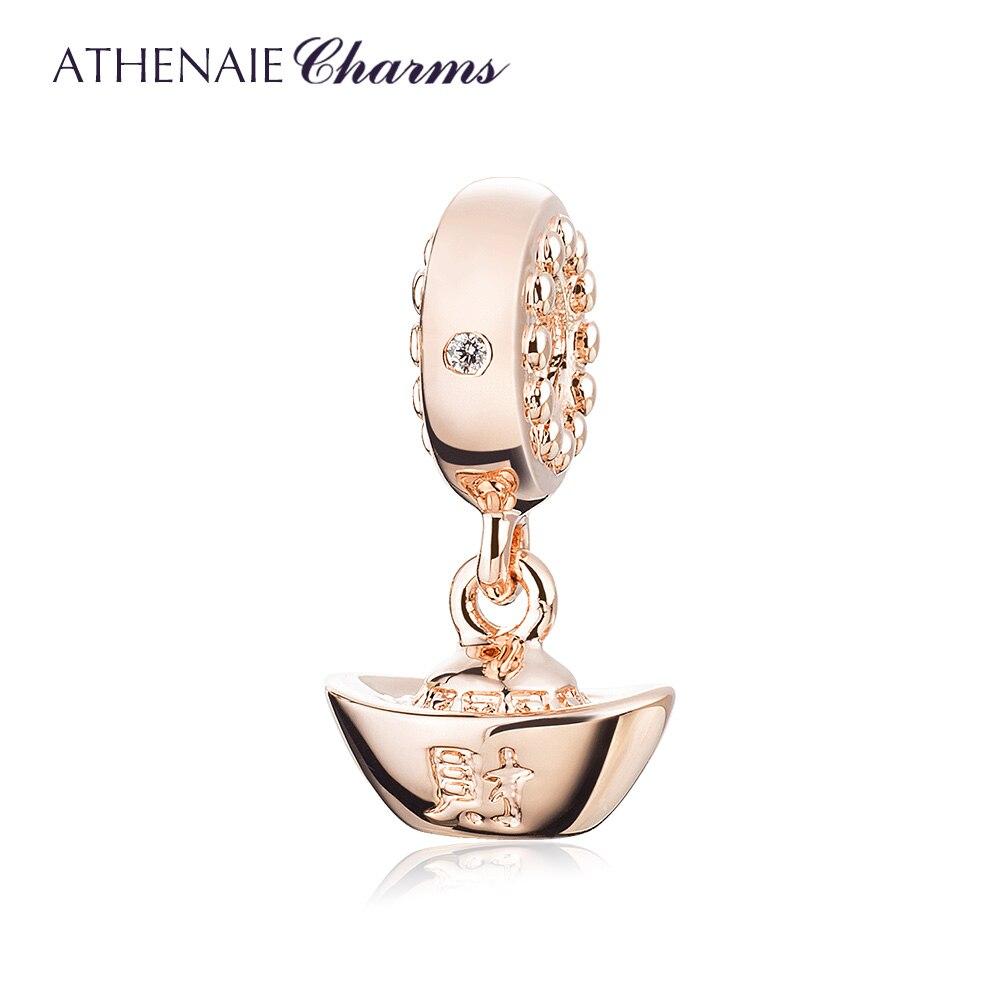 Athenaie lingotes chineses yuan bao riqueza encantos prata claro cz sorte pingentes para as mulheres europeias pulseira