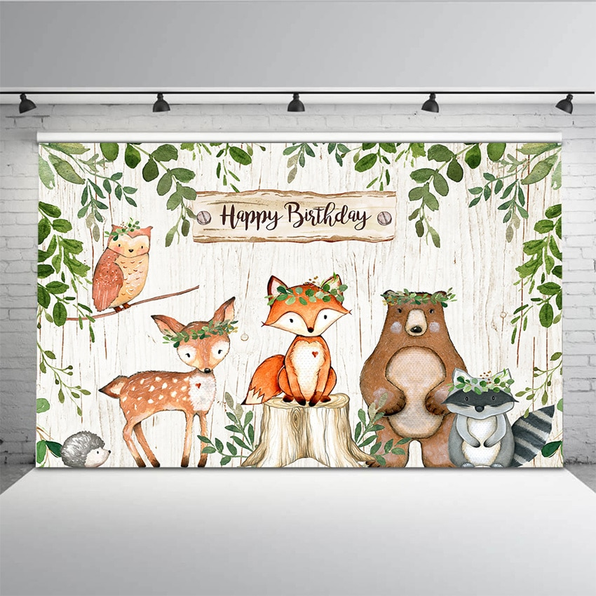 Photography backdrop happy birthday safari jungle party decoration supplies forest background for photo booth studio animals