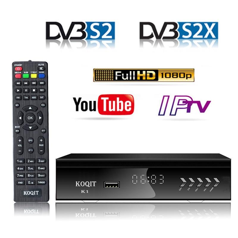 KOQIT 1080P DVB-S2 tv Digital caja de Receptor de satélite decodificador de tv sintonizador DVB S2 Receptor Wifi Youtube m3u IPTV Biss vu PVR USB