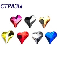 100pcs strass nail art rhinestones sweet heart flat shape colorful manicure glass crystals for diy crafts 3d nail decoration