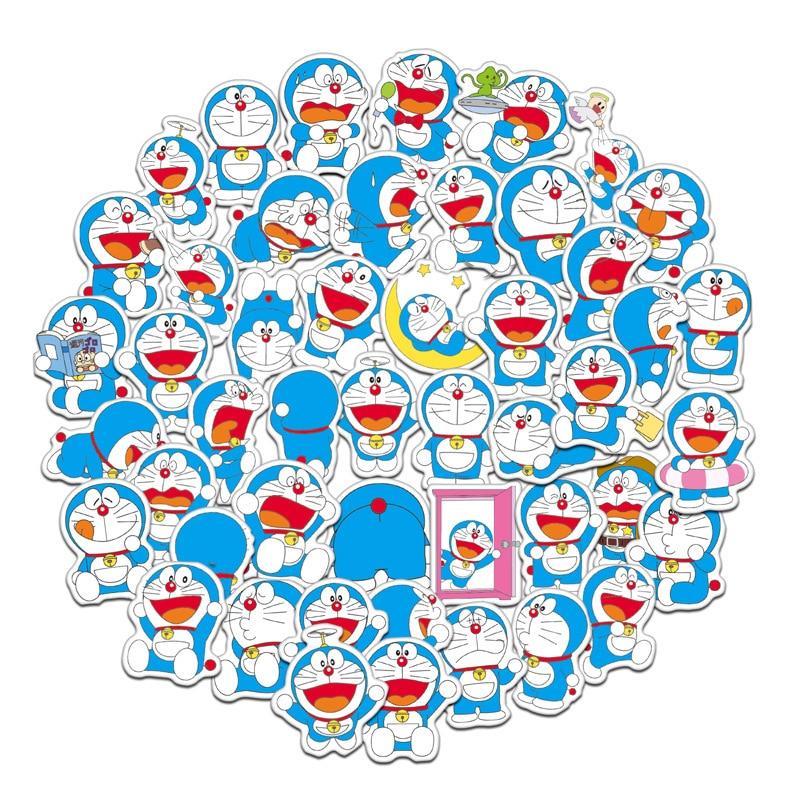 Doraemon pegatinas de dibujos animados para chica, maleta para álbum de recortes, paquete de pegatinas para ordenador portátil, juguete para niños, pegatina de animé chico grafiti
