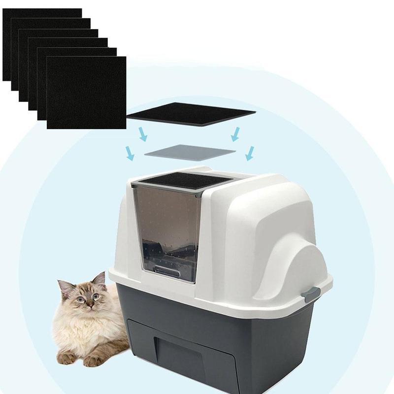4/6 Pcs Holzkohle Desodorierung Katzen Wurf Box Replacment Baumwolle Mit Kapuze Katzen Wurf Boxen Pfannen Kohlenstoff Geruch Filter