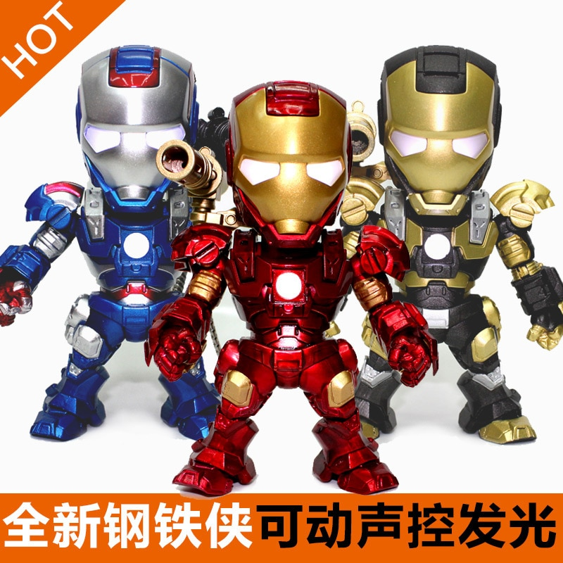 marvel wearable iron man mk5 voice activated deformation helmet Disney's Avengers Voice-activated Q Version of Iron Man Patriot MK4243 Hand-made Movable Doll Toy Model
