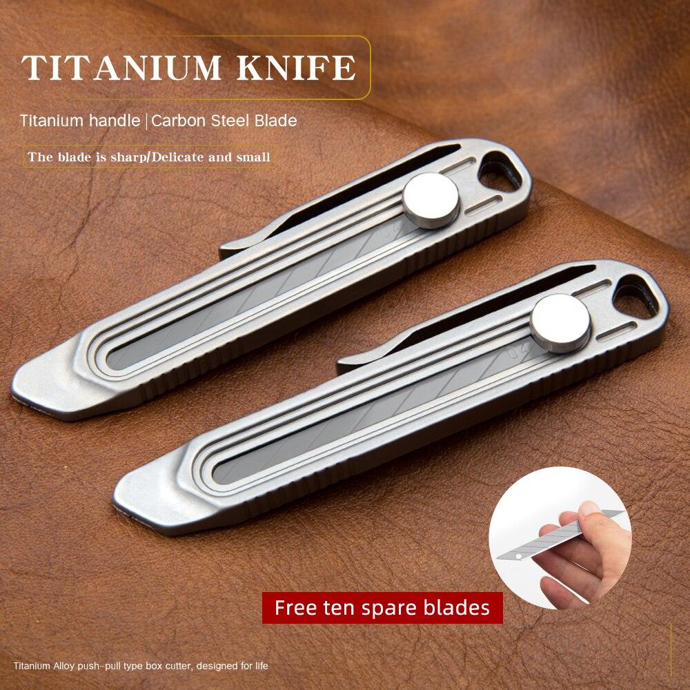 سكين تليسكوبي من سبائك التيتانيوم سكّين متعدّد الاستخدامات شفرات حادة حقيبة أدوات ألومنيوم محمولة سكين شفرة سريعة سكين جيب s