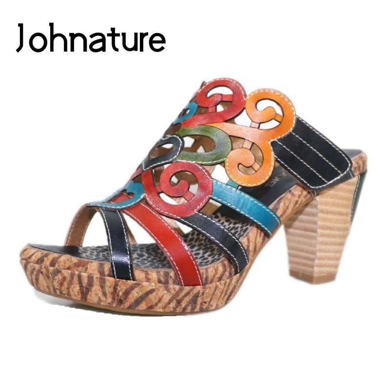 Johnature zapatos de mujer de cuero genuino 2020 nuevas zapatillas de verano costura con colores mezclados diapositivas exteriores deslizantes de mujer de estilo nacional