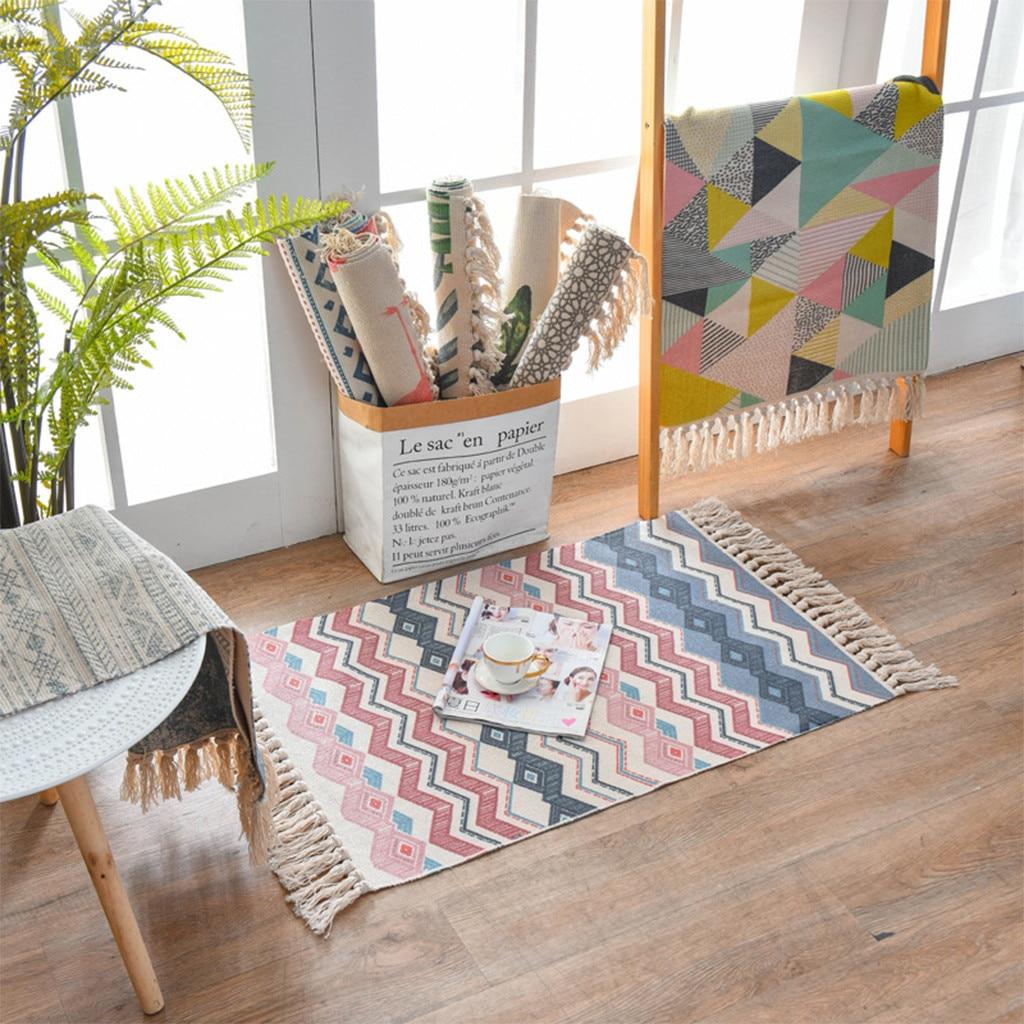 Alfombra decorativa bohemia de lino de algodón de impresión de planta teñido 60X90CM alfombra de viento nacional alfombra de puerta estera de dormitorio
