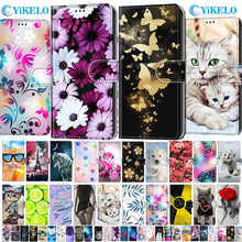 Кожаный защитный флип-чехол для мобильного телефона случай для Redmi Примечание 4 4X 3S GO 4A цветок милый кот кожаный чехол-бумажник с держателем ...