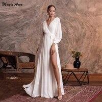 magic awn elegant chiffon wedding dresses with long sleeves side split v neck vintage princess bridal gowns a line vestido novia