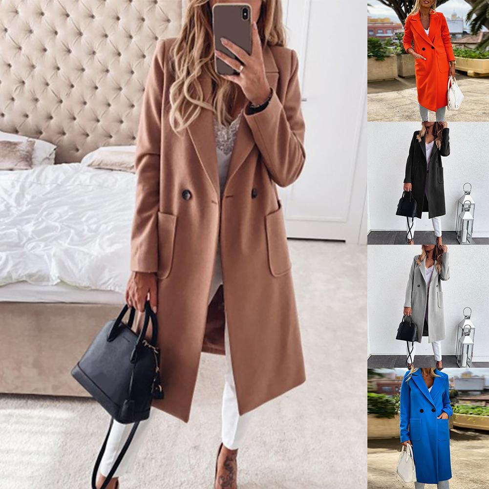 M-3XL mulheres outono inverno gola de lapela botões bolsos casaco longo casaco quente casaco plus size casaco feminino