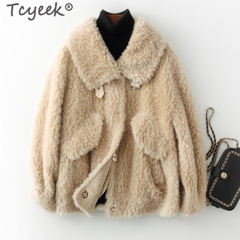 Tcyeek, abrigo de piel Real, esquilado de ovejas para mujer, chaqueta Vintage de invierno, ropa de mujer, 2020, abrigo de lana coreano elegante 100%, Hiver 1999