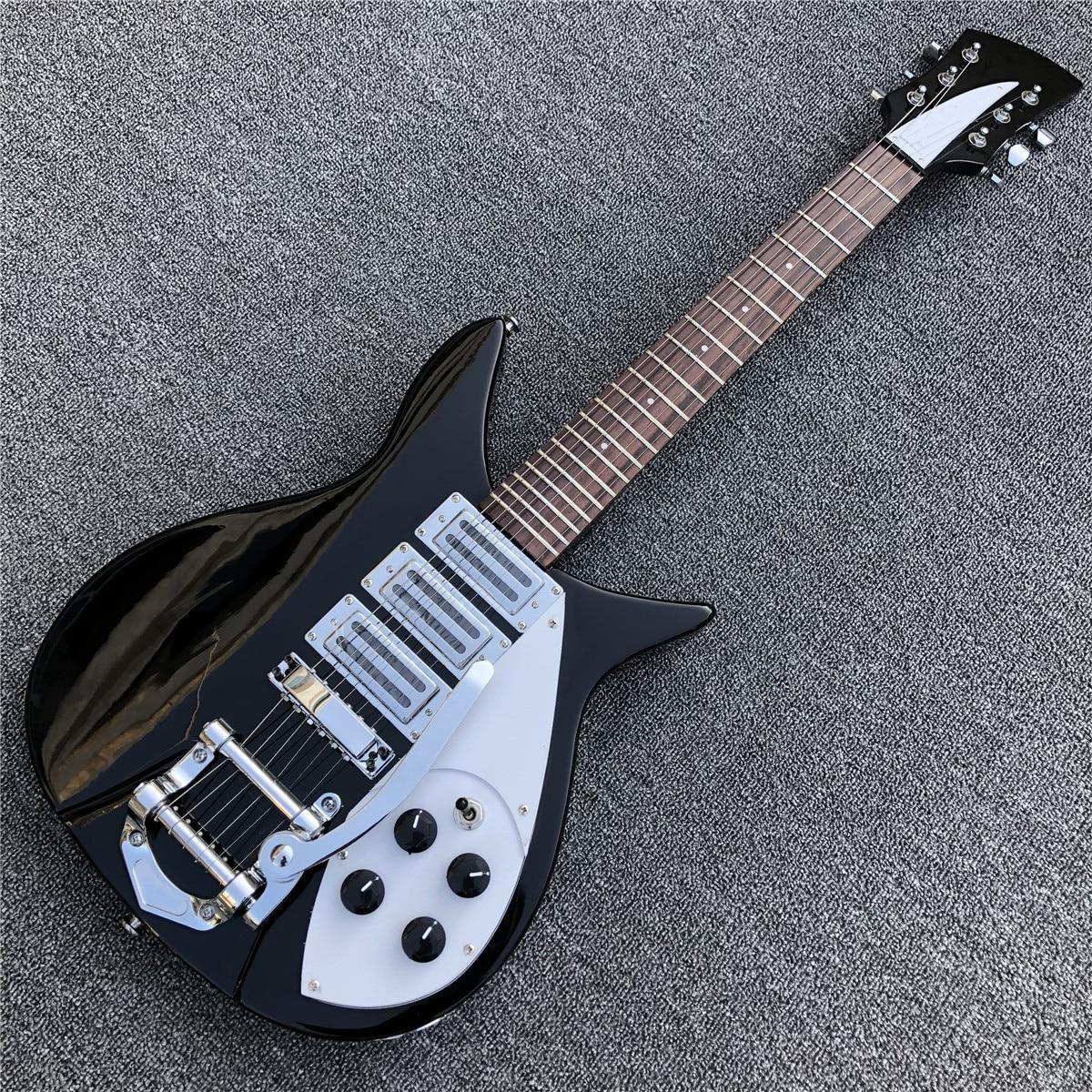 Hot Selling Black color Ricken 325 Electric Guitar Short Soild wood Body Guitarra In Stock
