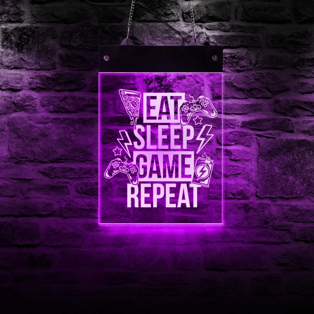 Eat Sleep Game-مصباح حائط LED مستطيل ، مصباح حائط LED ، إضاءة غرفة الأولاد ، لوحة ألعاب معلقة كهربائية