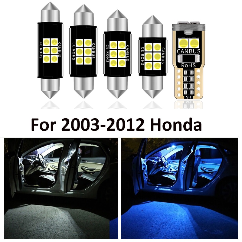 10Pcs LED Lamp Car Bulbs Interior Lights Package Kit For 2003-2012 Honda Accord CarMap Reading Dome Door Plate Light Accessories