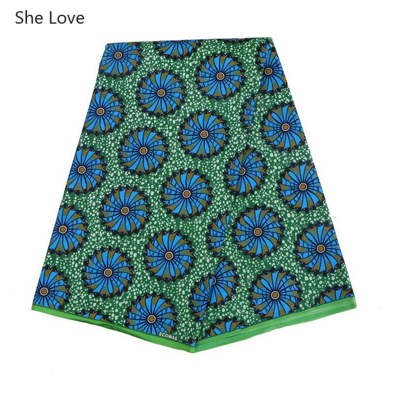 She Love 1 ярд/лот зеленая африканская печать вощеная ткань нигерийская бинтареалвосковая ткань полиэстер Анкара колесо напечатанная ткань Diy платье материал