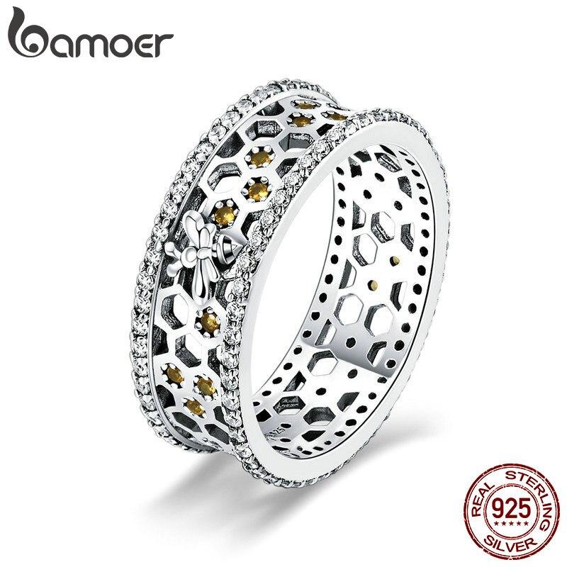 BAMOER gran oferta 925 plata esterlina reina abeja hexágono claro CZ anillo grande para mujeres abeja joyería de moda S925 SCR391