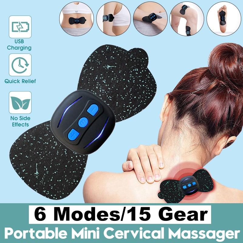 Masajeador de carga USB portátil de 6 modos de 15 engranajes, Mini pegatinas de masaje, calcomanías para el cuello, instrumento de fisioterapia de vértebra Cervical
