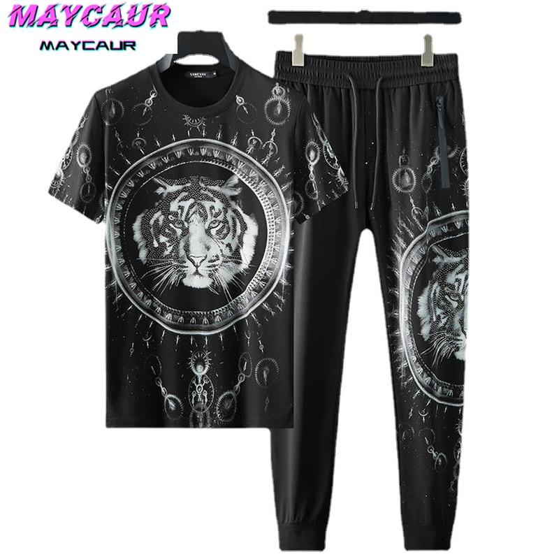 Мужские комплекты, модная одежда, футболка и брюки, модная спортивная повседневная одежда с принтом головы тигра из ледяного шелка, комплек...
