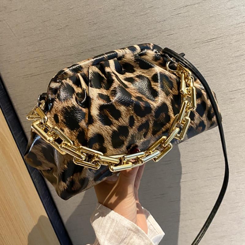 Luxury leopard gold chain handbag Soft Leather Hobos Bag Single Shoulder bag fashion Crossbody Bag And cloud bag