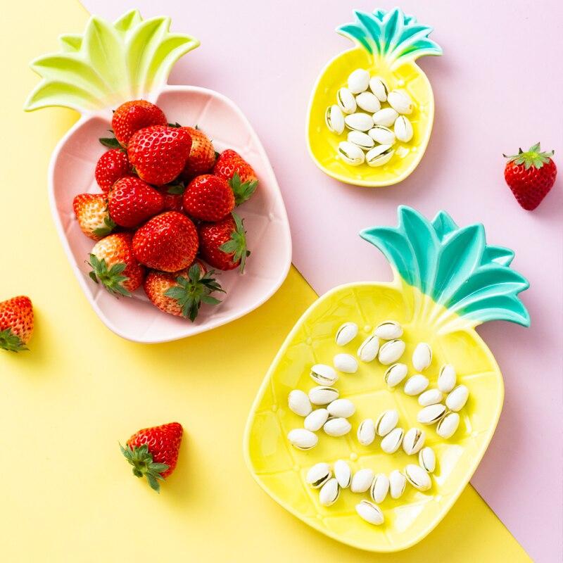 Vajilla nórdica fruta piña tazón plato hogar personalidad creativa cerámica tazón bonito corazón Bandeja de postres platos LB022704