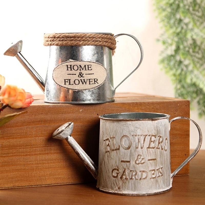 Vintage Bucket Flower Pot Iron Home Retro Flower Vase Garden Plant Flowerpot Succulent Decor Planting Display Stand Retro Beauty