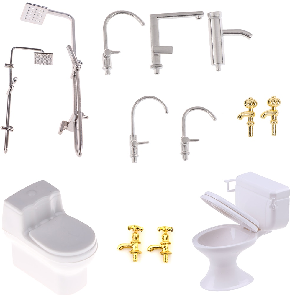 Dollhouse Miniature Bath Shower Modeling Toilet Bathtub Faucet Simulation Water Tap Toys for Doll Ho