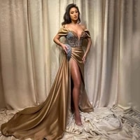 uzn gold mermaid evening dress sequins off the shoulder longo prom party gowns with long train saudi arabia celebrity dresses