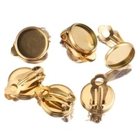10pcs lot gold stainless steel clip on earrings setting blank base cabochon cameo 6 8 10 12 mm for diy jewelry making supplies
