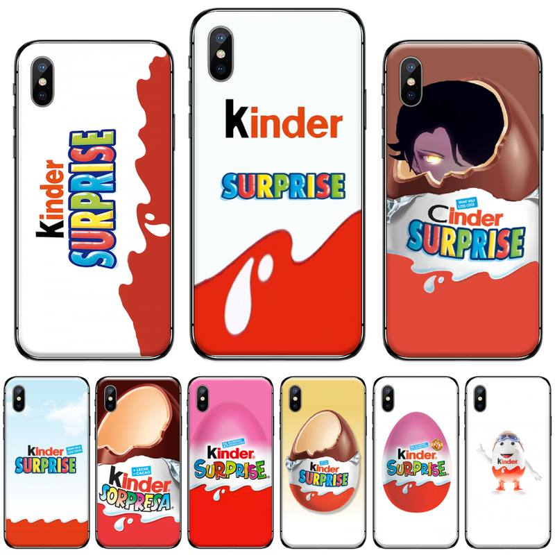 Funda de teléfono negra de silicona suave para comida de huevo sorpresa Kinder para iphone 5 5s 5c se 6 6s 7 8 plus x xs xr 11 pro max