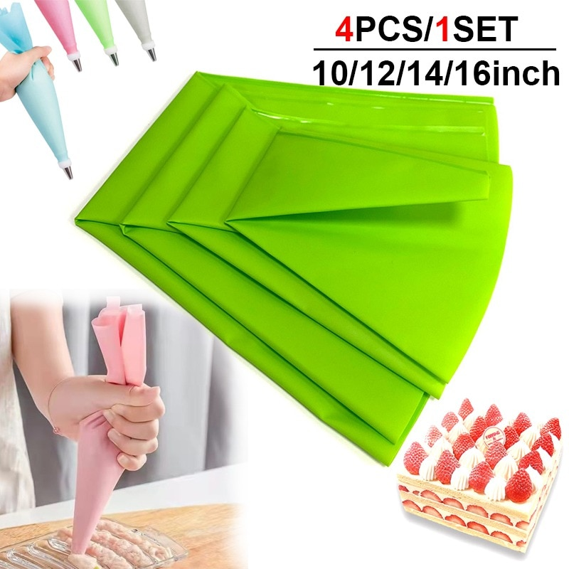 4 шт./компл. силиконовый кондитерский мешок, многоразовый кондитерский мешок для выпечки печенья, одноразовый кондитерский крем, конфеты