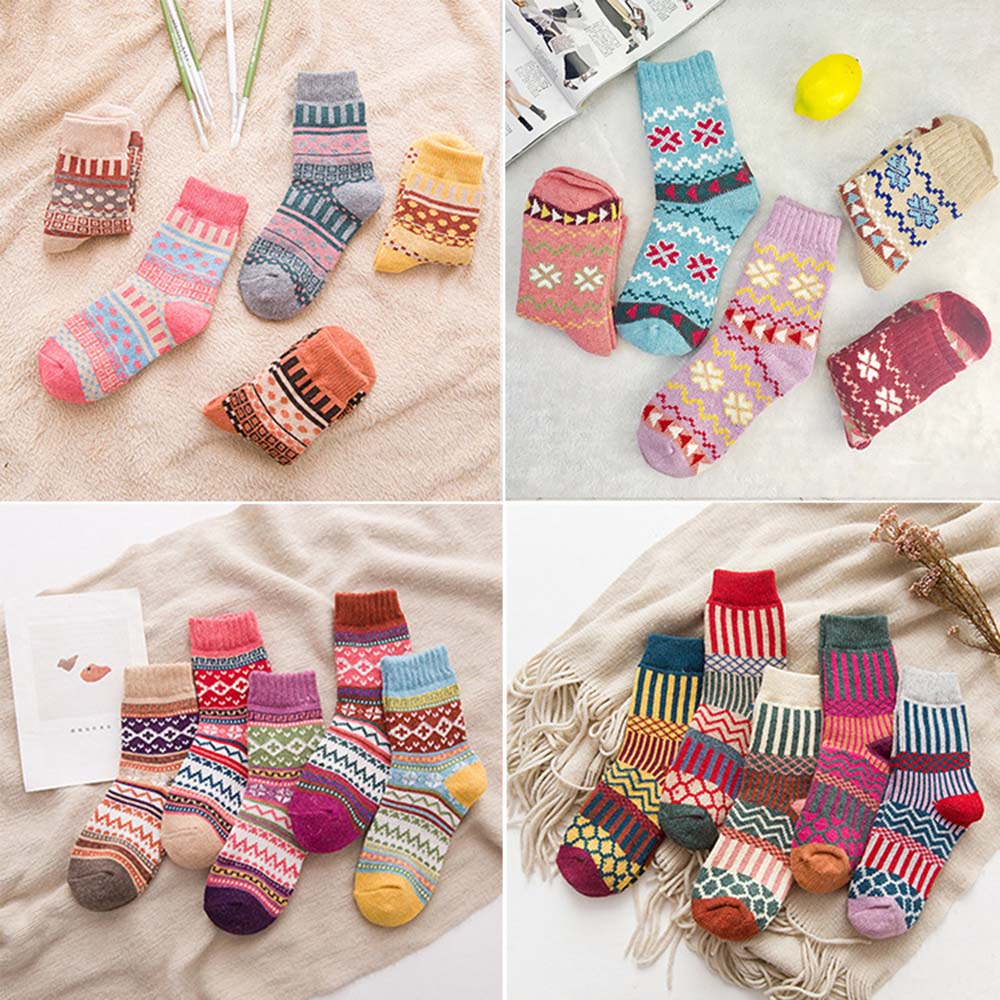 5 Pairs Lot Pack Set Women Socks Winter Retro Wool Socks Thickened Warm National Style Folk-custom Christmas Gift Quality