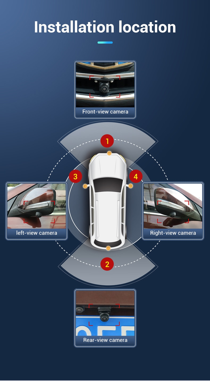 Eunavi HD 3D 360 Camera for Android Car Radio Car Bird View System 4 Camera 360 1080P Rear/Front/Left/Right 3D 360 Camera
