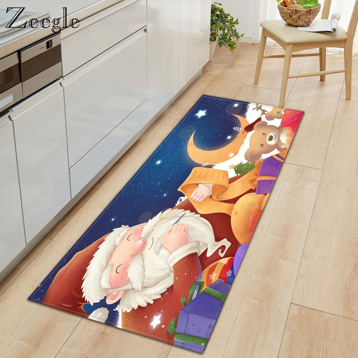 Zeegle-سجادة مطبخ طويلة مقاومة للأوساخ ، ممسحة أرضية لممر الكريسماس ، غير قابلة للانزلاق مع امتصاص الماء ، سجادة حمام بجانب السرير