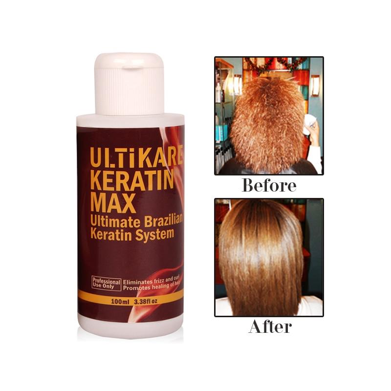Купить с кэшбэком 100ml Brazilian keratin treatment Straightening hair Repair and straighten damage hair+purifying shampoo with free comb