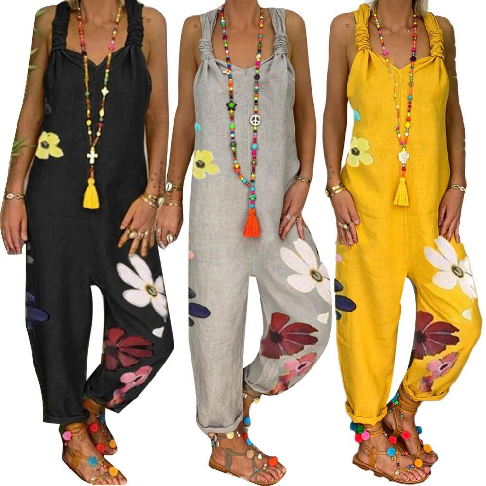 Plus Size New Fashion Women Sleeveless Bib Overall Backless Floral Print Loose Jumpsuit Dungarees Playsuits Bodysuit