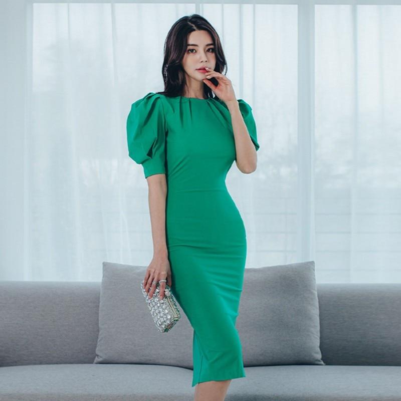 Летнее корейское Платье-футляр llзакауш 2020, женское зеленое облегающее платье с пышными рукавами, сексуальное платье-миди с разрезом на талии