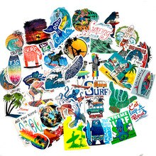 50Pcs Outdoor Sports Tropical Beach Surf Graffiti Sticker For Refrigerator Skateboard Suitcase Scrap
