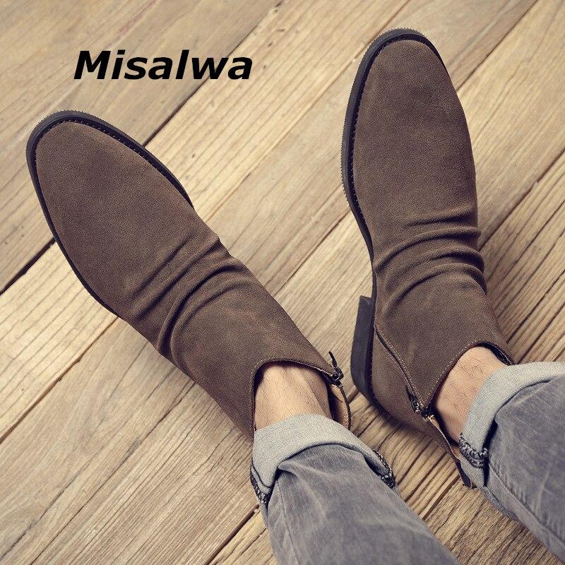 Misalwa, botas cortas casuales de gamuza de vaca para hombres, botas Chelsea elegantes de otoño e invierno, botas para hombre con cremallera 37-45, zapatos tobilleros súper genuinos