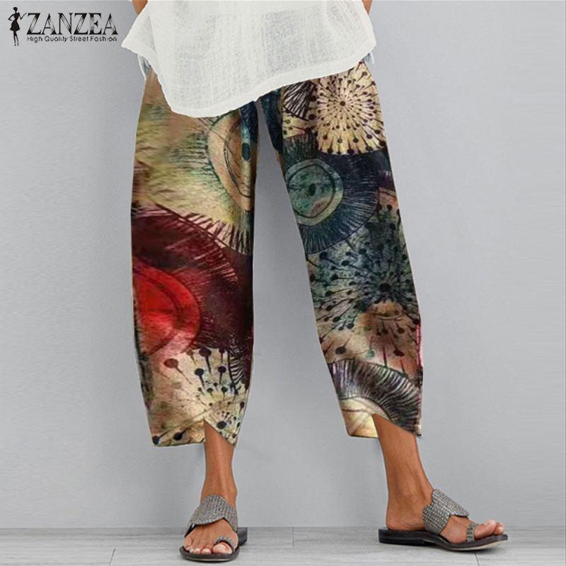 2020 été taille élastique navet Pantalon ZANZEA femmes sarouel Vintage imprimé coton Long pantacourt Pantalon femme grande taille