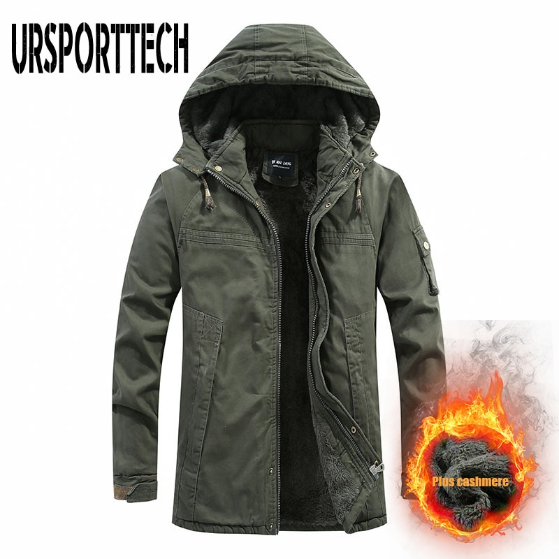 ursporttech 2020 new waterproof winter jacket men hooded parka men warm winter coat men thicken zipper camouflage mens jackets URSPORTTECH Winter Jacket Men Parkas 2020 New Casual Warm Men Parka Coat Military Windproof Hooded Jackets Windbreaker Men Coats