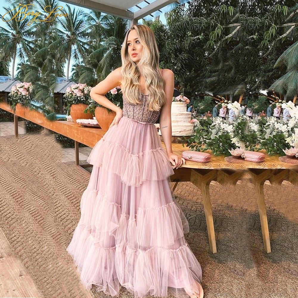 Pink Layers Prom Dresses Long A Line Bead Party Dress Girl Gown Tiered Strapless Neck Tulle Evening Dress Fairy Lady Gown New amazing 2020 new prom dresses ball gown tiered ruffled tulle purple unique evening dress strapless celebrity pageant gowns