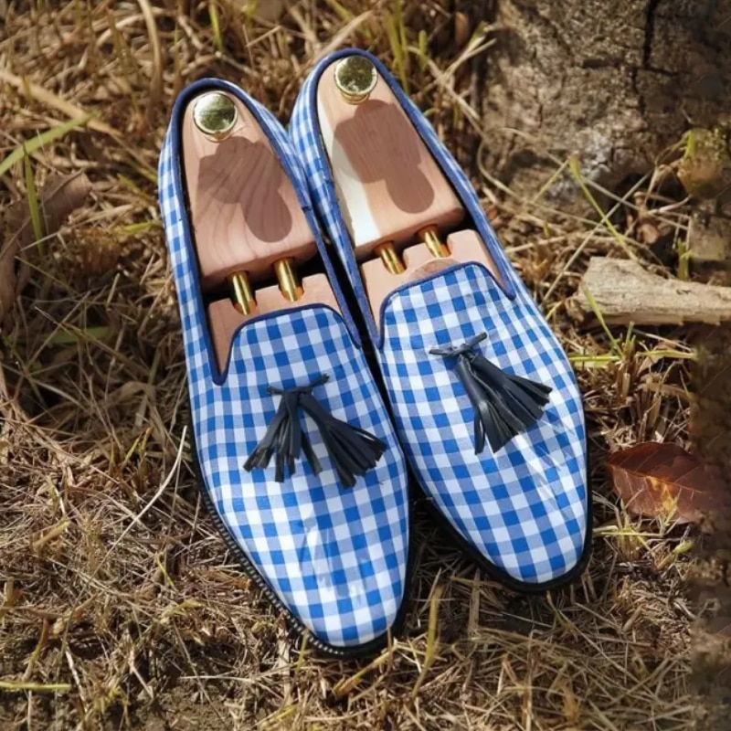 Men's Shoes Fashion Casual Business Handmade Mixed Color Plaid Cloth Classic Tassels Comfortable All-match Loafers HA202