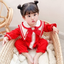 Yg brand children's new spring double lace collar long sleeve baby birthday full moon Jumpsuit girl'