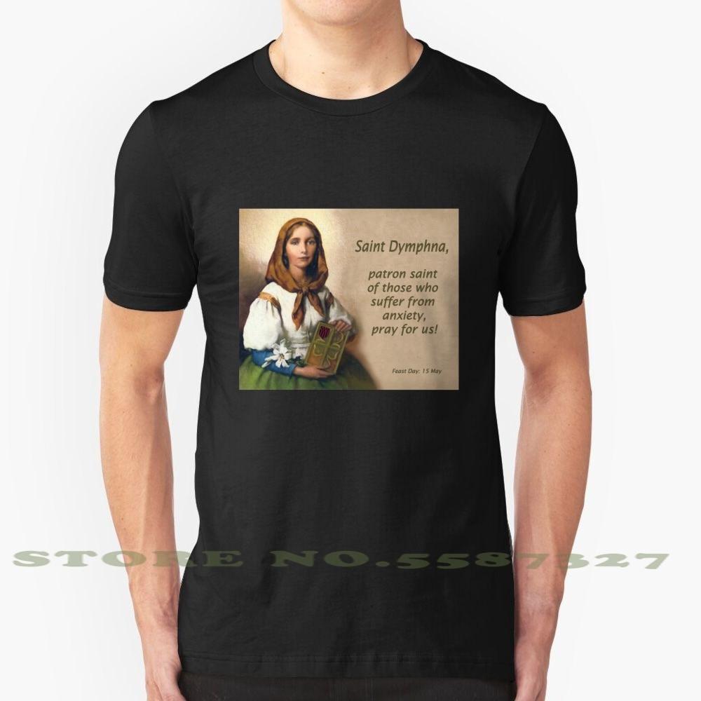 Camiseta blanca y negra de Saint Dymphna , Patron Saint Dymphna para hombres y mujeres