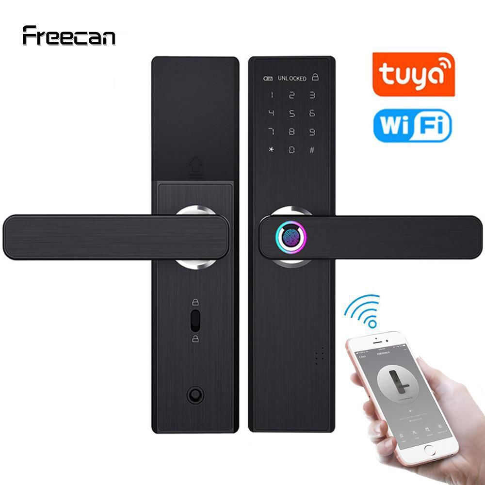 Cerradura electrónica inteligente para puerta FREECAN Wifi con aplicación Tuya, cerradura biométrica de seguridad con huella dactilar y contraseña RFID